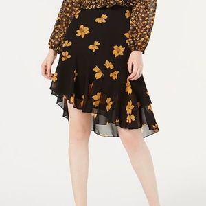 Tiered Asymmetrical Flowing Floral Print Skirt
